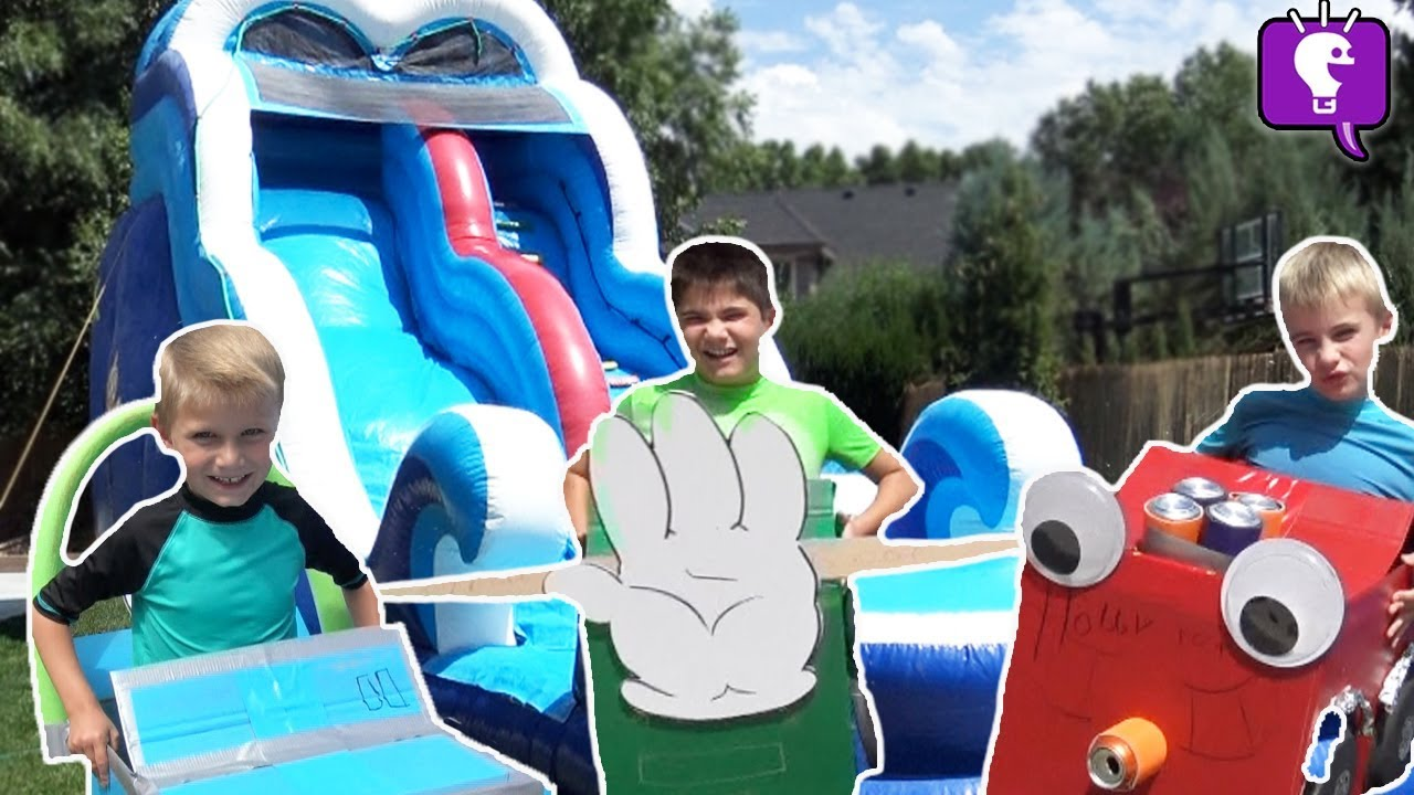 Giant Waterslide with Box Fort Cars by HobbyKidsTV