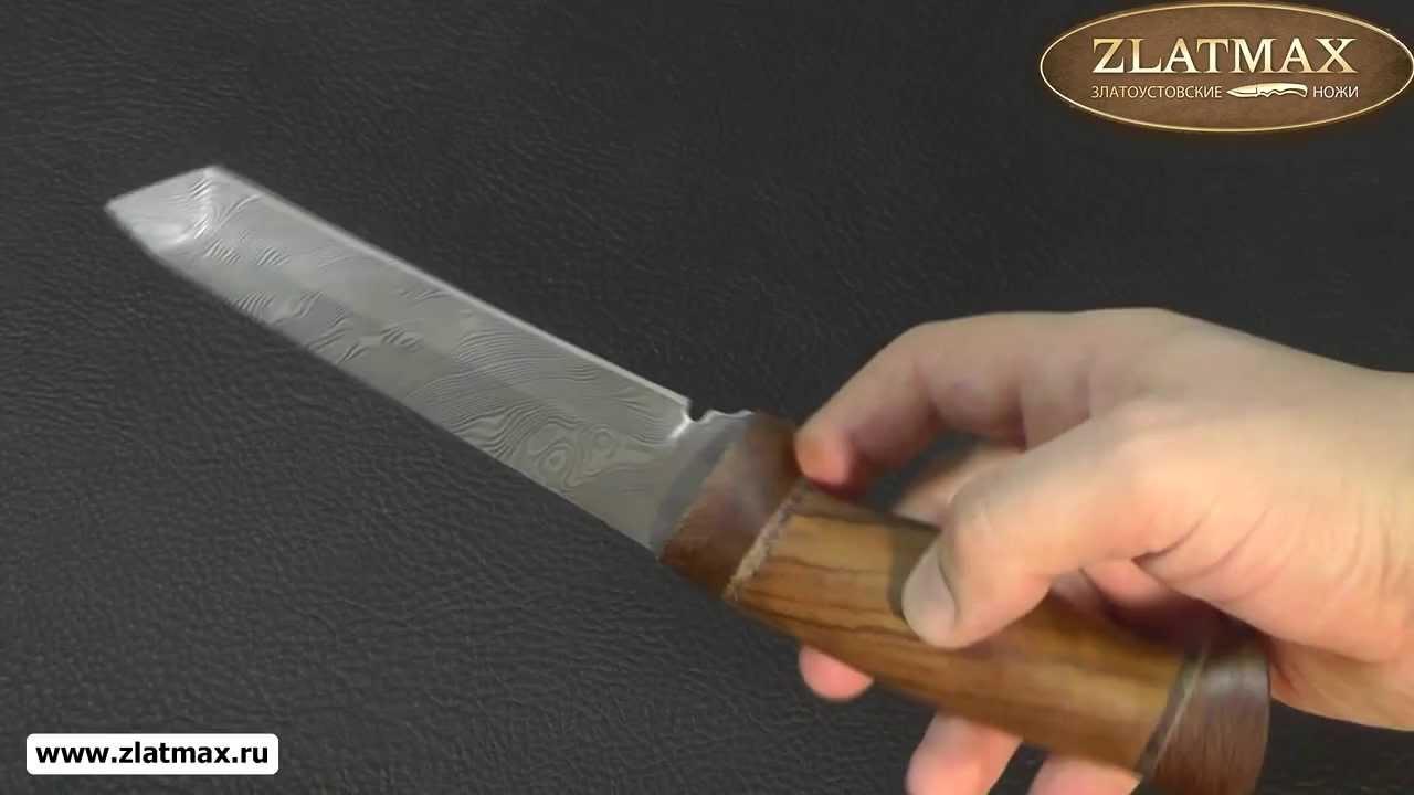 Видео Нож Н10 Филадельфия (40Х13-Х12Ф1 (Нержавеющий дамаск), Орех, Текстолит)