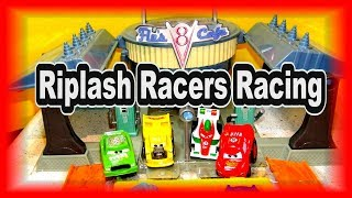 Pixar Cars Real Riplash Racers in Downtown Radiator Springs with McQueen Jackson Storm Doc Hudson an