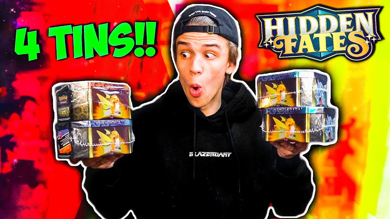 OPENING 4 TINS of the MOST EXPENSIVE New Pokemon Set... HIDDEN FATES 16 BOOSTER PACKS!!