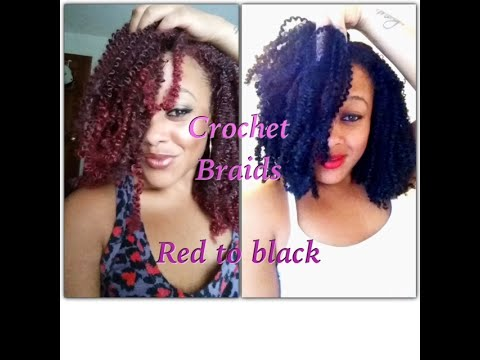Kinky crochet braids Red to Black - YouTube
