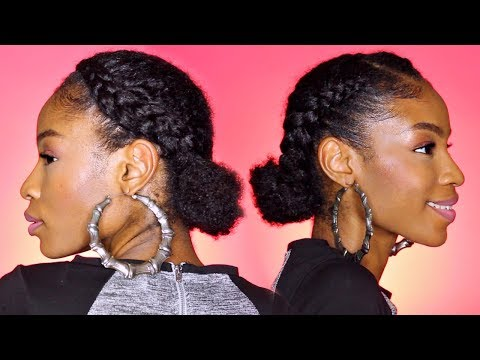 cornrows-into-double-buns►-natural-hair-protective-style