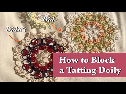 [SUB] 태팅레이스 도일리 블로킹 하는 방법 / How to Block a Tatting lace doily