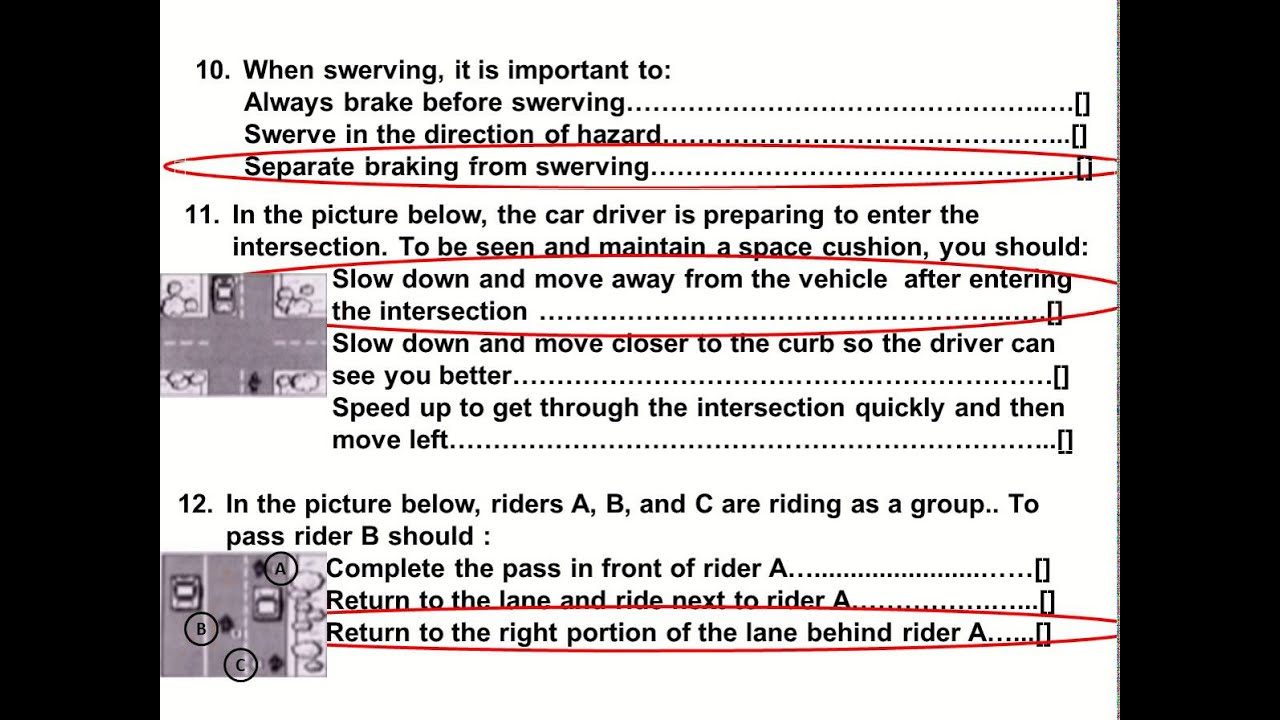 2017 Dmv Motorcycle Released Test Questions part 1 Written CA ...