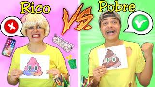 RICO VS POBRE NA ESCOLA!! Colorindo desenho!!