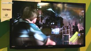 Resident Evil 6 gameplay - Leon on the rooftop shooting zombies