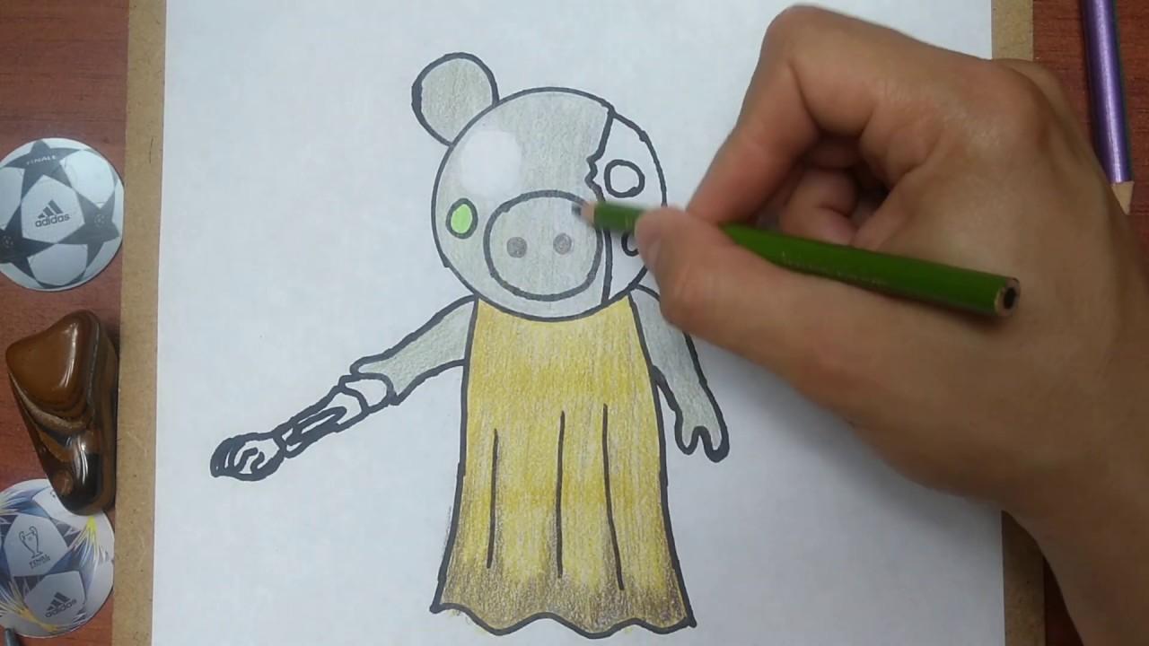Como Dibujar Y Pintar A Zombipiggy De Piggy Roblox How To