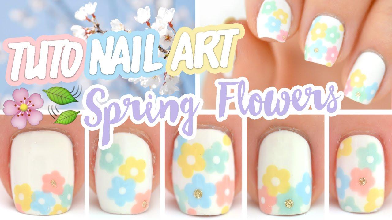Nail art facile fleurs de printemps youtube - Nail art printemps ...