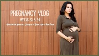 Pregnancy Vlog Wks 33-34 | Childbirth Classes, Fatigue & Even More Rib Pain! Thumbnail