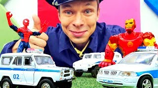 Машинки в видео - Супергерои и инспектор Фёдор следят за дорогой!