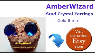 blue saphire stud crystal earrings - California stud crystal earrings - gold stud crystal earrings