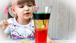Опыты и фокусы для детей. Эксперимент из трех жидкостей. Круче, чем лавовая лампа!