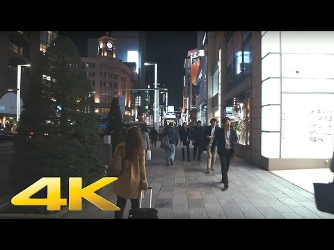 Walking around Ginza, Tokyo at night - Long Take【東京・銀座/夜景】 4K