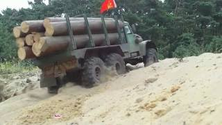 rc axial scx10 8x8 maz 537 and kraz 255 in the desert