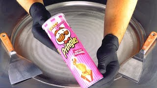 ASMR - pink Pringles Ice Cream Rolls | oddly satisfying Ice Cream - tapping & scratching fast ASMR