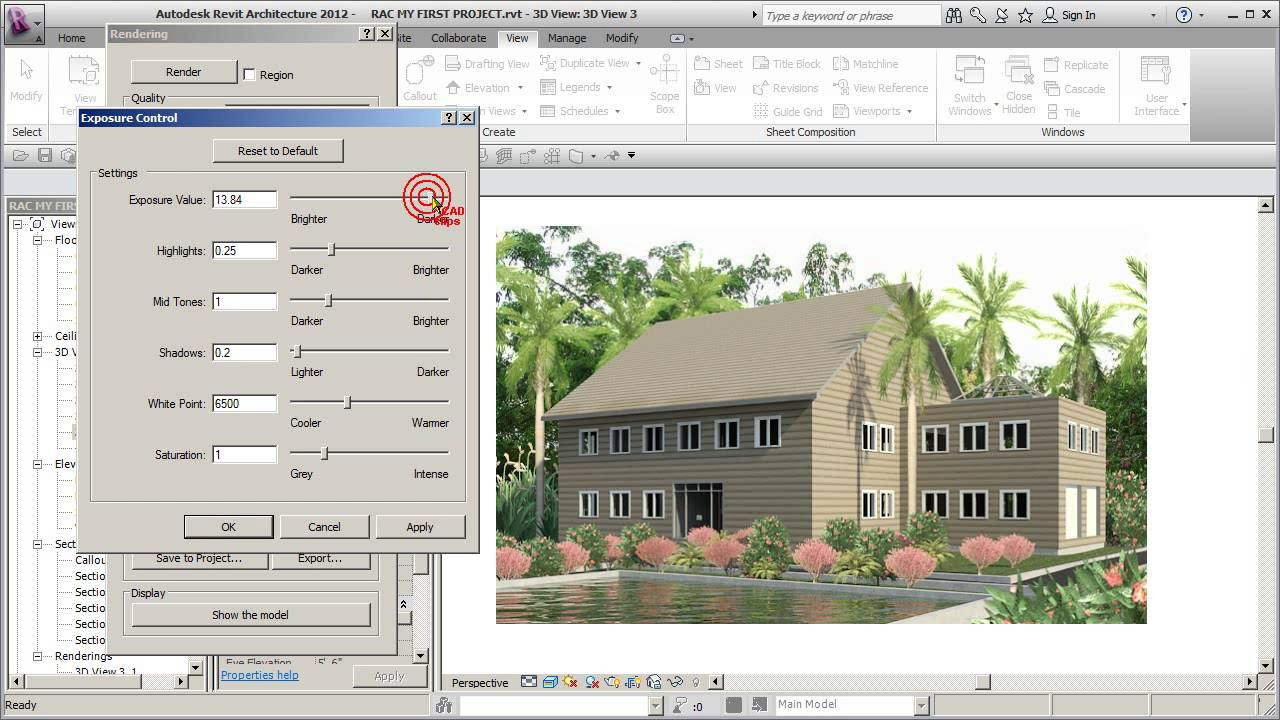 REVIT ARCH 2012 FIRST PROJECT 73 RENDER TIPS ADJUST EXPOSURE - YouTube