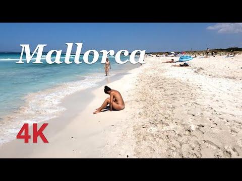 Walking Tour Platja Des Trenc Nude Beach, Nudist Beach Walk, Mallorca (Majorca), Spain 4K