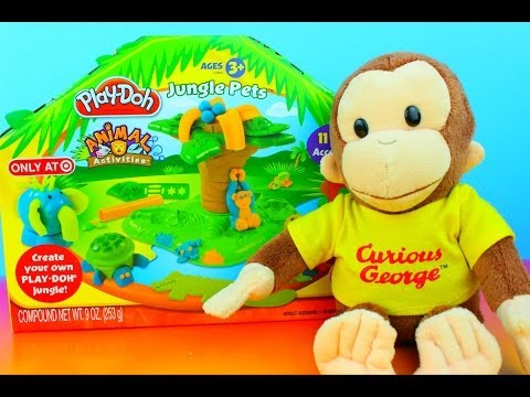 Curious George plays with PlayDoh Jungle Pets Animal Activities Set George makes elephant turtle