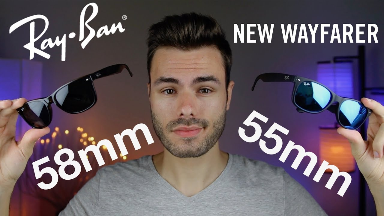 84f2b5b417 Ray-Ban New Wayfarer Size Comparison 55mm vs 58mm - YouTube
