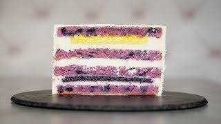 ЧЕРНИЧНО-ЛИМОННЫЙ ТОРТ. Торт с черничным желе и лимонным курдом.