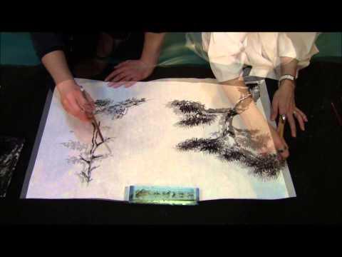 Ogawa Ryu – Sumi-e Painting Expressive Landscape with People