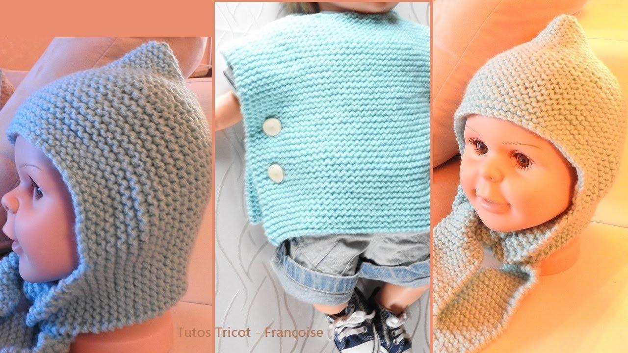 Tuto tricot Bonnet écharpe Bébé \u0026 Poncho Bébé facile (3/6 mois , 9/12 mois)  point mousse