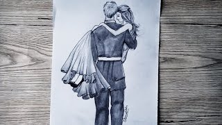 Pencil Drawing couple sketch of special love with pencil shading - step by step || Pencil Drawing