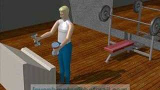 dumbel çalışan insan simulasyonu animasyonu
