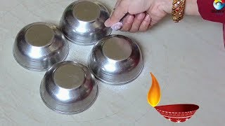 Easy and Colorful Diwali special Rangoli designs using bowls 2018