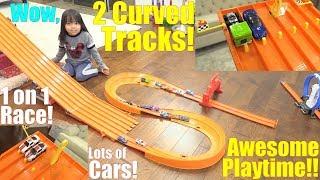 Hot Wheels CURVE TRACK Racing! Fun Toy Car Racing Playtime Video! Kids