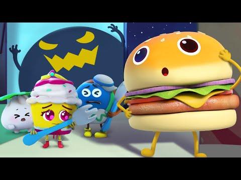 The Strange Sound in the Dark   Donut, Burger   Food Cartoon for Kids   Kids Cartoon   BabyBus