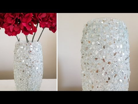 BLING HOME DECOR | INEXPENSIVE DIY | CRUSHED GLASS DECORATIVE VASE | HOME DECOR TRENDS!!! 2019