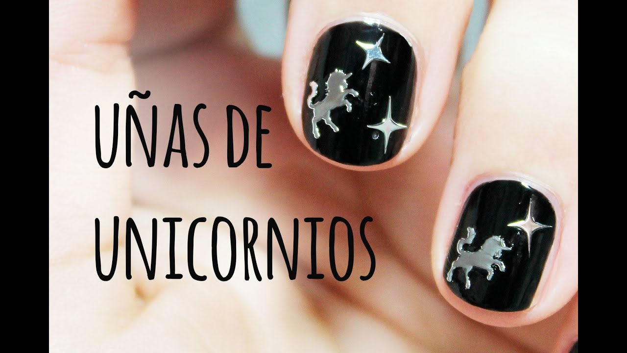 U as de unicornio nail art con l minas met licas para for Laminas de decoracion para pared
