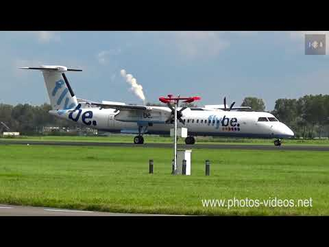 Flybe Bombardier Dash 8 Q400 G-ECOD landing at Schiphol Airport
