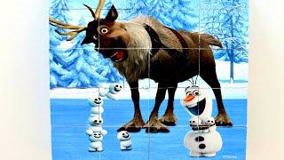 Олаф и Свен Веселые Друзья собираем кубики пазлы для детей с героями мультика Холодное сердце Frozen