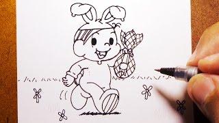 Como Desenhar a MÔNICA COM OVO DE PÁSCOA Turma da Mônica, How to Draw