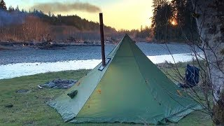 3 Days Alone   Wood Stove Tent and Looking for Elk