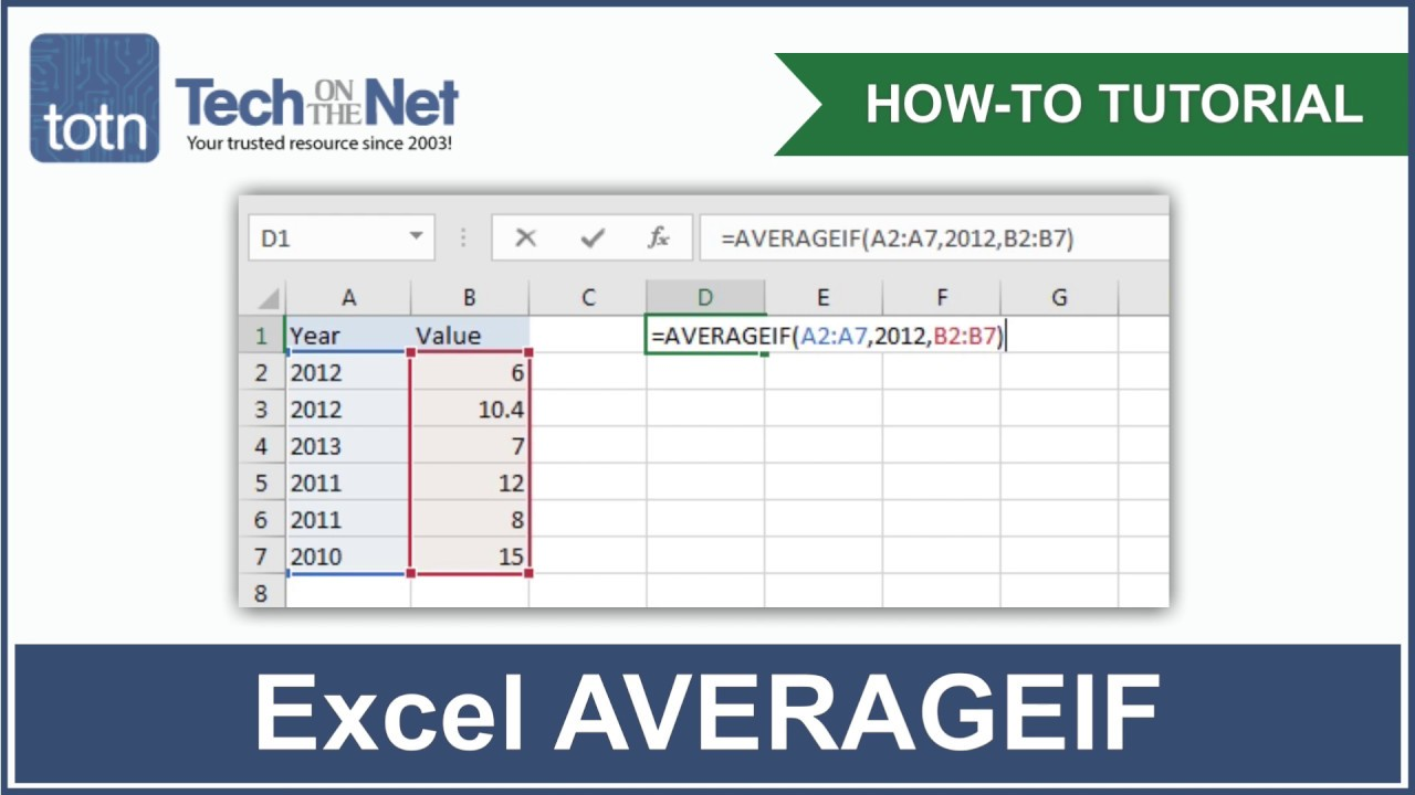 MS Excel: How to use the AVERAGEIF Function (WS)