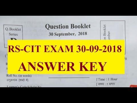 rscit answer key 30 september 2018 rkcl rscit exam question paper