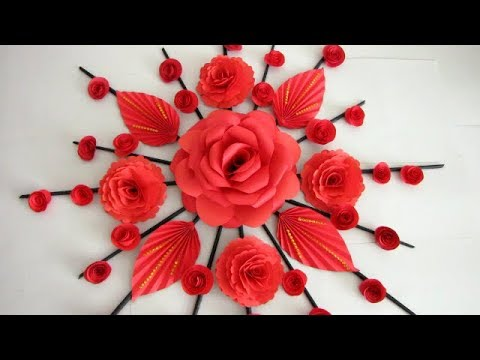 Paper Flower Wall Hanging. Newspaper Craft. DIY Hanging Flower - Wall Decoration ideas 37