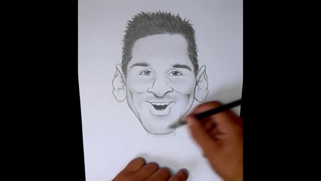 how to draw messi cartoon