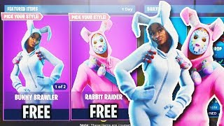 FORTNITE NEW ITEM SHOP BUNNY BRAWLER RABBIT RAIDER GIFTING LIVE