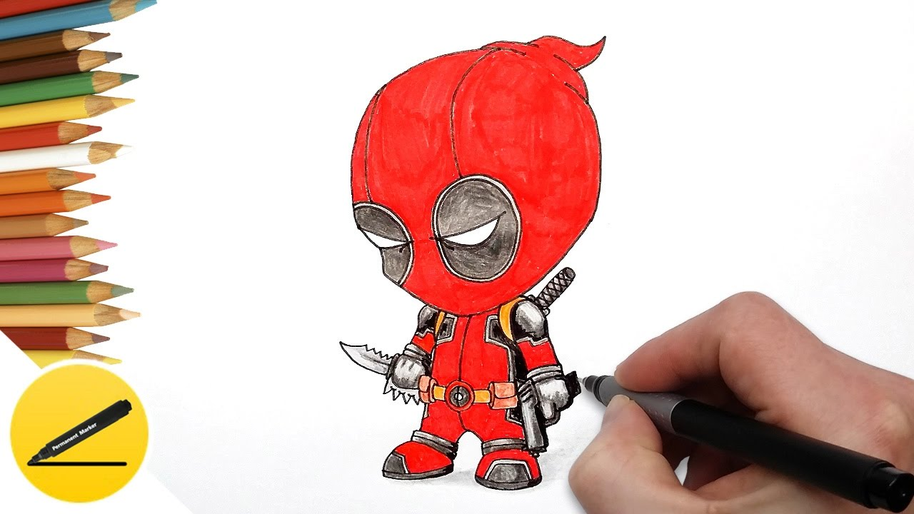 How To Draw Deadpool Chibi Full Body Step By Step
