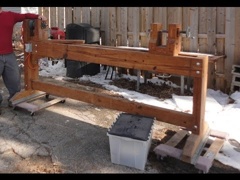 HomeMade WOOD Lathe - 8' long diy lathe, head stock, tail ...