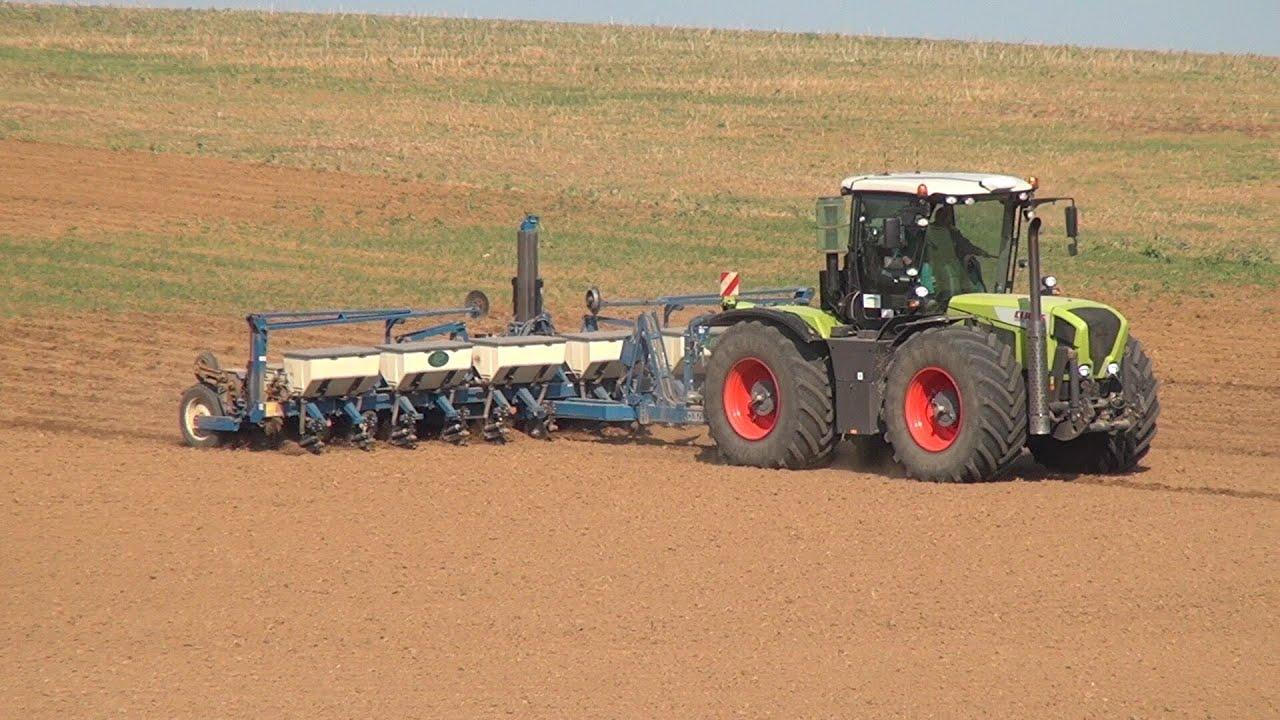 claas xerion traktor zieht sämaschine in mähren tschechien