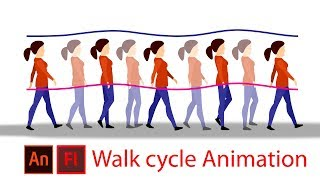character walk cycle animation tutorial (Animate CC/flash)Kunst tutor1