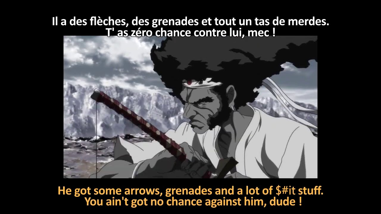 FRENCH LESSON  - learn french with animated movies ( french + english subtitles ) Afro Samurai part2