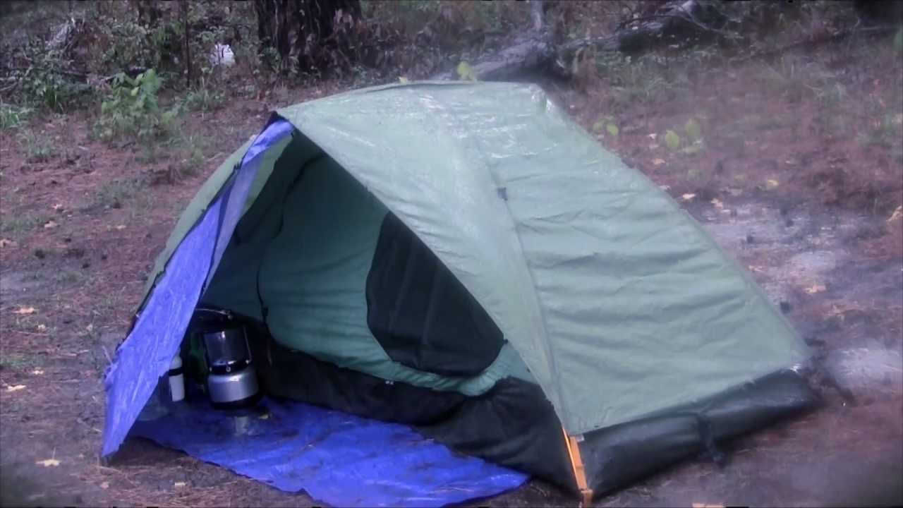 Tent C& in the Rain and Stay Dry Eureka Backcountry 1 Tent with Homemade Vestibule - YouTube & Tent Camp in the Rain and Stay Dry Eureka Backcountry 1 Tent with ...