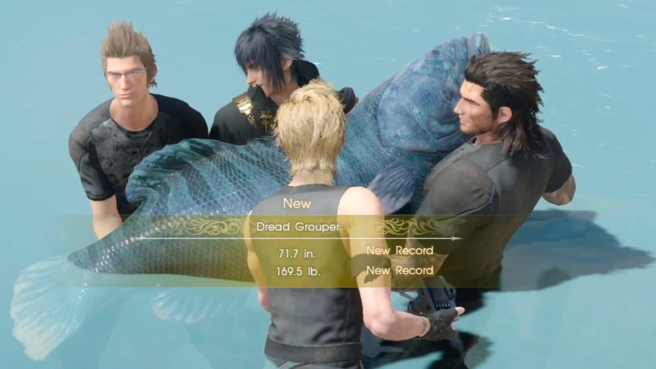 Final fantasy xv biggest fish dread grouper youtube for Final fantasy 15 fishing
