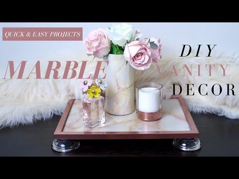 Dollar Tree DIY Marble Vanity Decor | DIY Marble Tray | DIY Marble Vase | FAUX Marble Decor